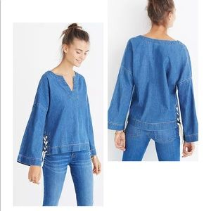 Madewell Denim Side-Lace Top in Andie Wash S